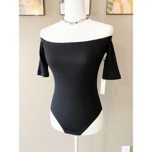NWT Revolve Capulet Black Ribbed Bodysuit